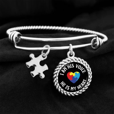 I Am His Voice Autism Charm Bracelet