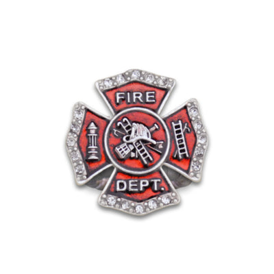 Firefighter Badge Charm Stretchy Ring