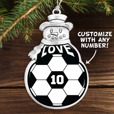 Customizable Number Soccer Love Snowman Ornament