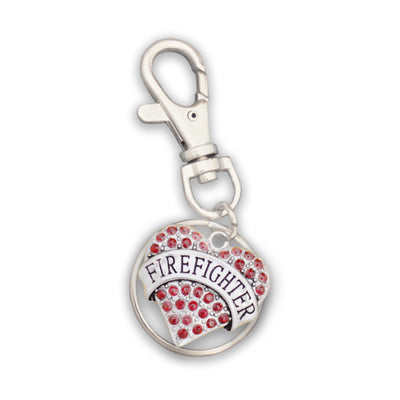 Firefighter Heart Charm Key Chain
