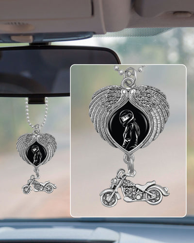 Biker Girl Wings Rearview Mirror Charm
