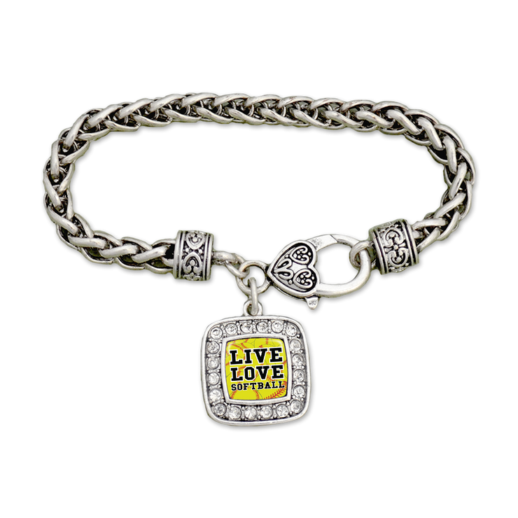 Live Love Softball Crystal Clamp Bracelet