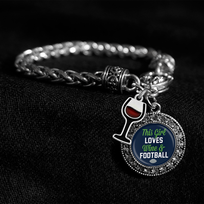 Seattle This Girl Loves Wine And Football Silver Braided Clasp Charm Bracelet