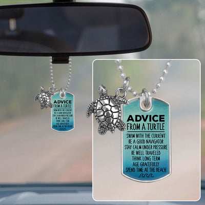 Advice From A Turtle Dog Tag Rearview Mirror Charm