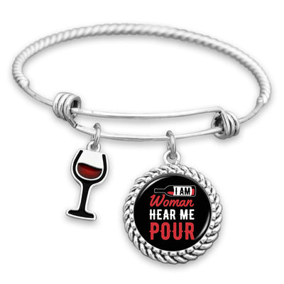 I Am Woman Hear Me Pour Charm Bracelet