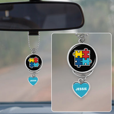 Customizable Autism Awareness Puzzle Pieces Rearview Mirror Charm
