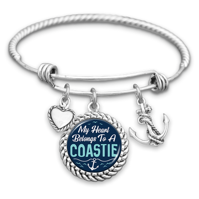 My Heart Belongs To A Coastie Charm Bracelet