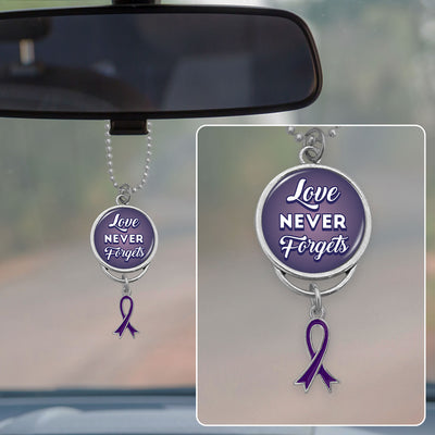 Love Never Forgets Alzheimer's Awareness Rearview Mirror Charm