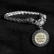 Piece Of My Heart Silver Braided Clasp Bracelet