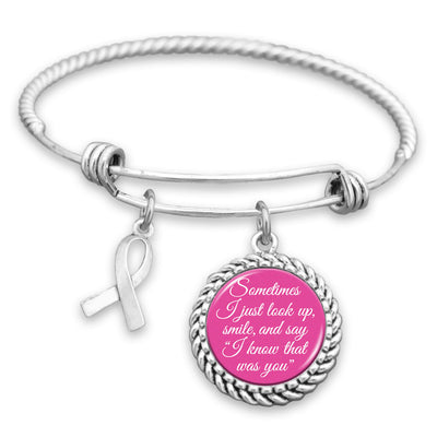 Know That Was You Breast Cancer Ribbon Charm Bracelet