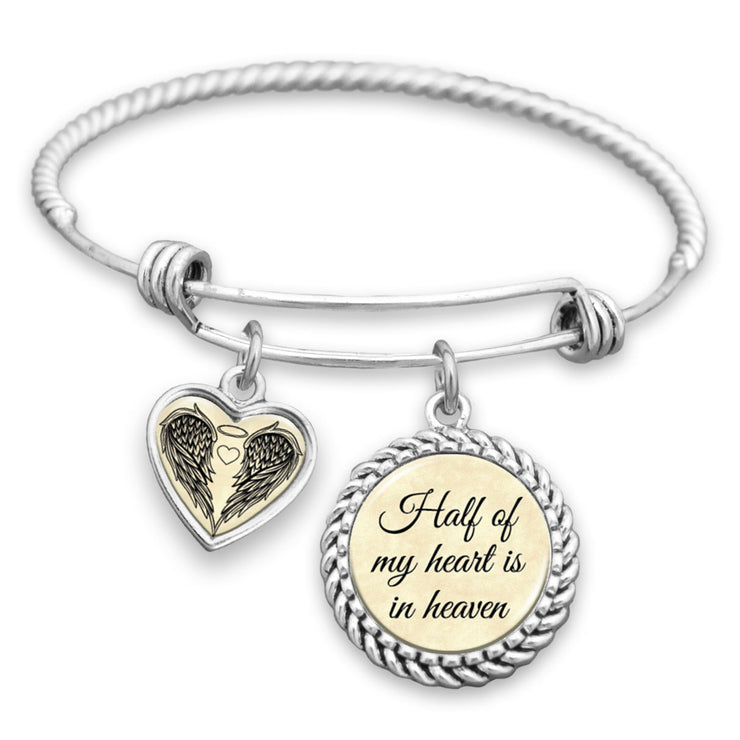 Half Of My Heart Is In Heaven Charm Bracelet