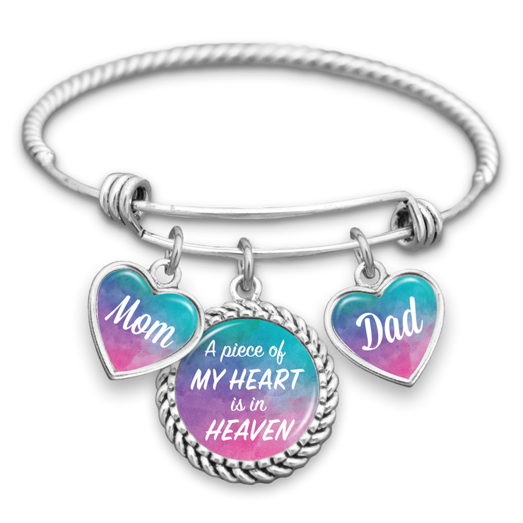Watercolor Piece Of My Heart Mom & Dad Charm Bracelet