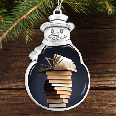 Book Stack Snowman Ornament