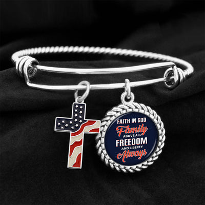 Faith In God Family Above All Freedom And Liberty Always Charm Bracelet