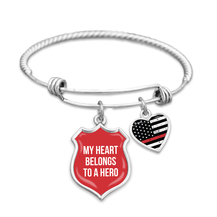 My Heart Belongs To A Hero Thin Red Line Charm Bracelet