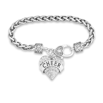 Crystal Cheer Heart Silver Braided Clasp Charm Bracelet