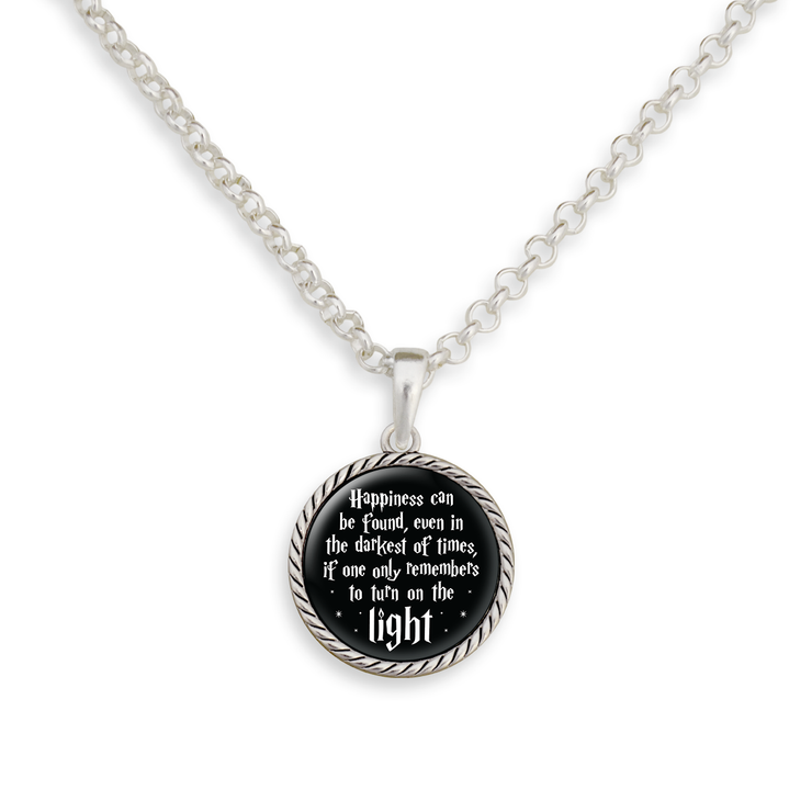 Turn On The Light Quote Necklace