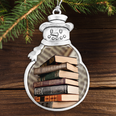 Old Books Snowman Ornament
