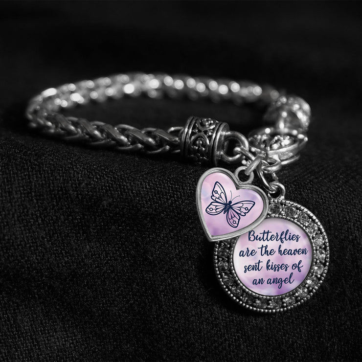 Butterflies Are The Heaven Sent Kisses Of An Angel Silver Braided Clasp Charm Bracelet