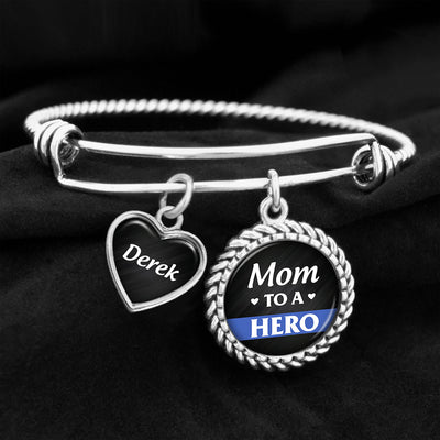 Customizable Mom To A Hero Police Charm Bracelet