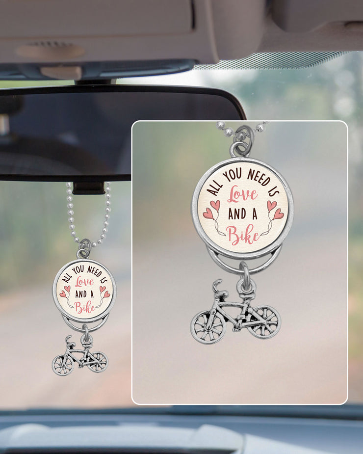 Love And A Bike Rearview Mirror Charm