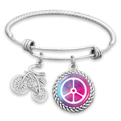 Peace Gear Bicycle Charm Bracelet