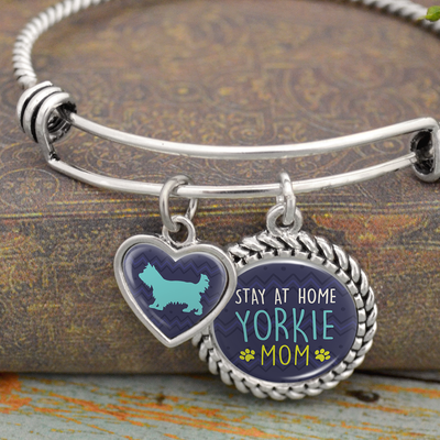 Stay At Home Yorkie Mom Charm Bracelet