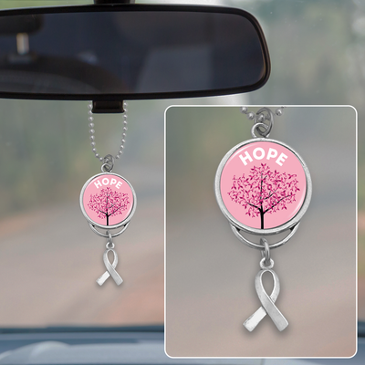 Hope Tree Breast Cancer Awareness Rearview Mirror Charm