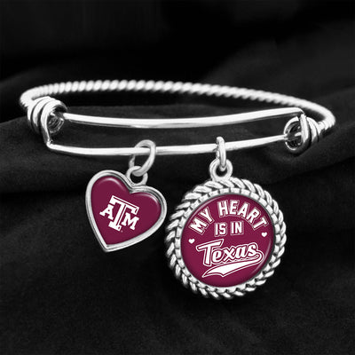 My Heart Is In Texas A&M Aggies Charm Bracelet