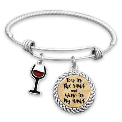 Toes In The Sand Wine Glass Charm Bracelet