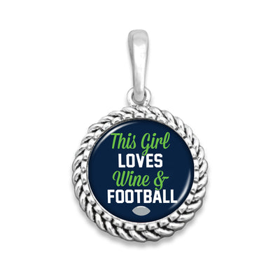 This Girl Loves Wine & Football Easy-O Zipper Pull Charm