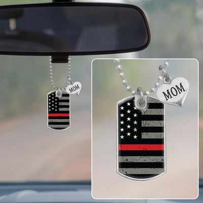 Thin Red Line Flag Family Member Heart Dog Tag Rearview Mirror Charm