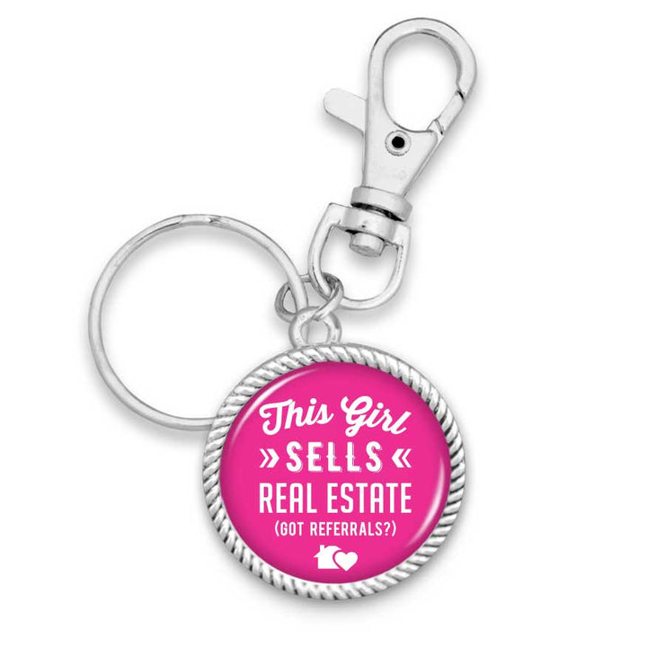 This Girl Sells Real Estate (Got Referrals?) Key Chain