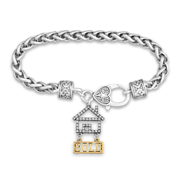 Crystal Sold House Silver Braided Clasp Charm Bracelet