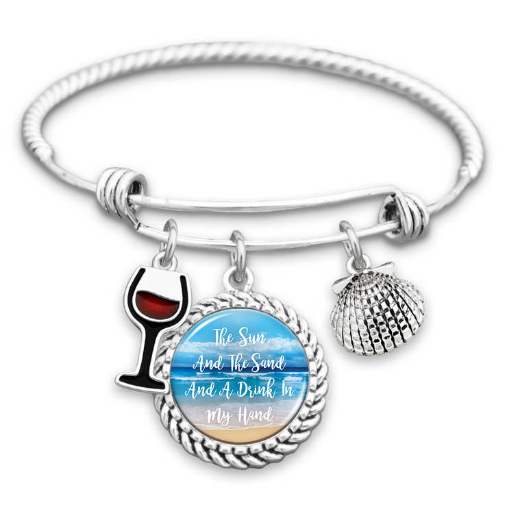 The Sun And The Sand And A Drink In My Hand Charm Bracelet