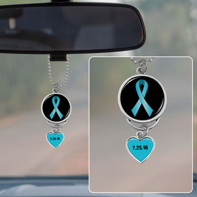 Recovery Ribbon Personalized Sobriety Date Rearview Mirror Charm