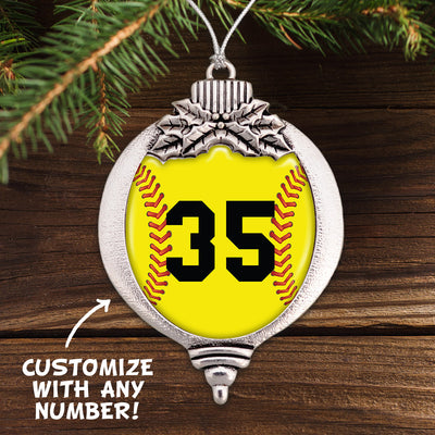 Customizable Softball Number Bulb Ornament