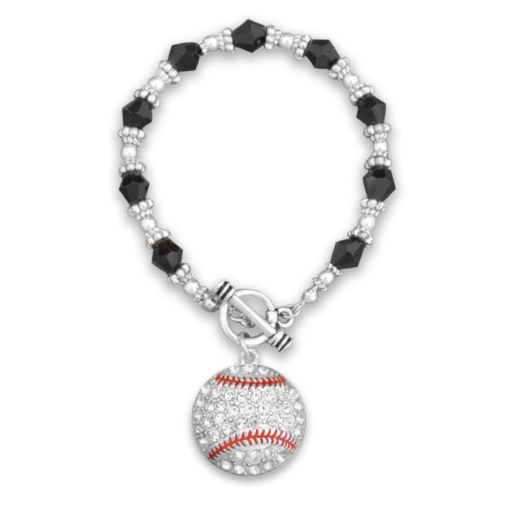 Baseball Charm Beaded Toggle Bracelet