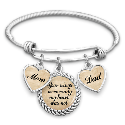 Your Wings Were Ready My Heart Was Not Mom & Dad Charm Bracelet