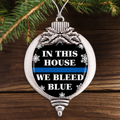 In This House We Bleed Blue Bulb Ornament