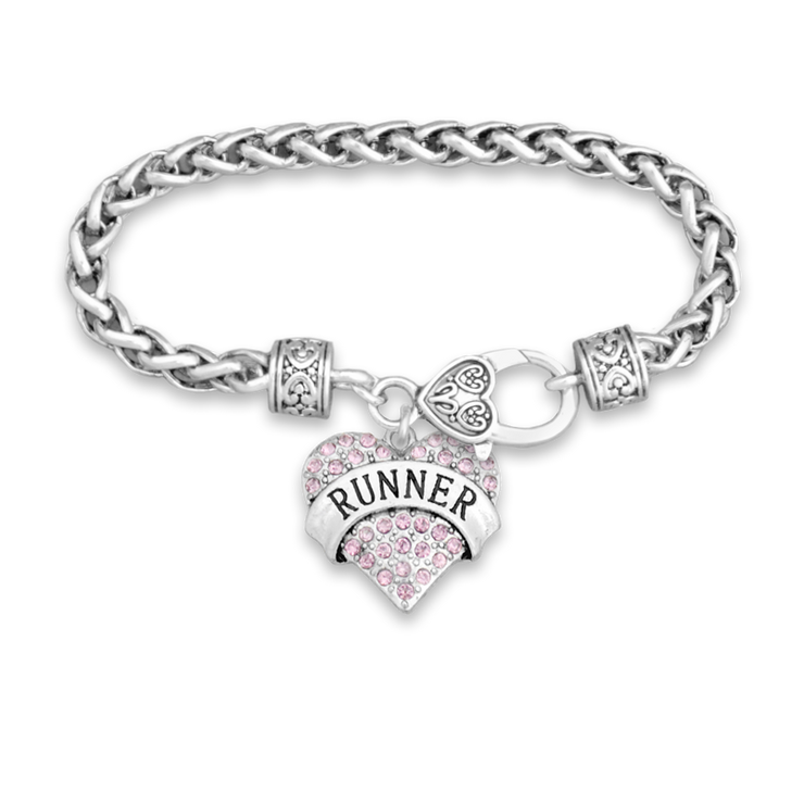 Crystal Runner Heart Silver Braided Clasp Charm Bracelet