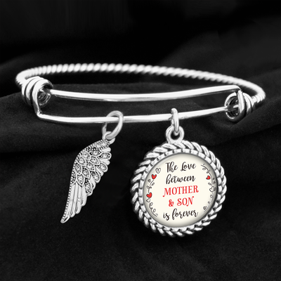 The Love Between Mother & Son Is Forever Crystal Wing Charm Bracelet
