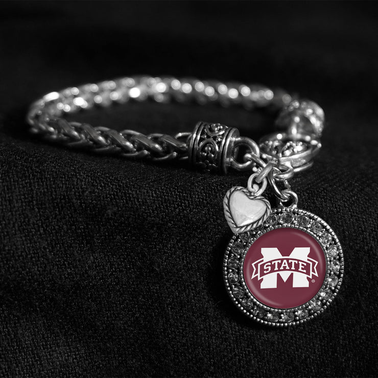 Mississippi State Bulldogs Logo Silver Braided Clasp Charm Bracelet