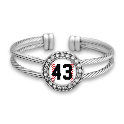 Baseball Personalized Number Crystal Cuff Bracelet