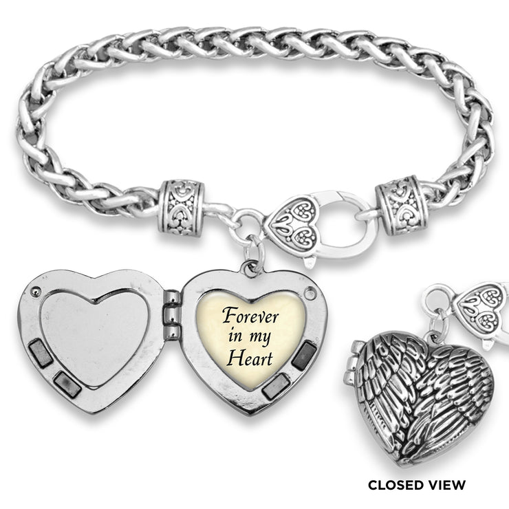 Forever In My Heart Parchment Wing Locket Silver Braided Clasp Bracelet