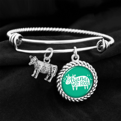 Friends Not Food Cow Charm Bracelet
