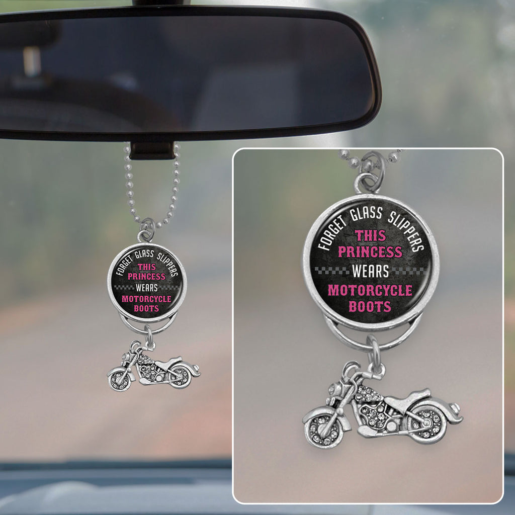 This Princess Wears Motorcycle Boots Rearview Mirror Charm