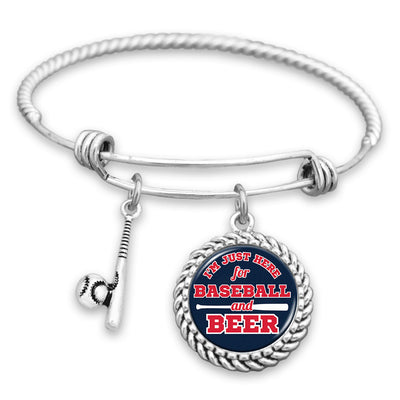 Cleveland I'm Just Here For Baseball And Beer Charm Bracelet
