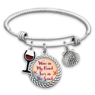 Wine In My Hand, Toes In The Sand Wine Glass & Seashell Charm Bracelet