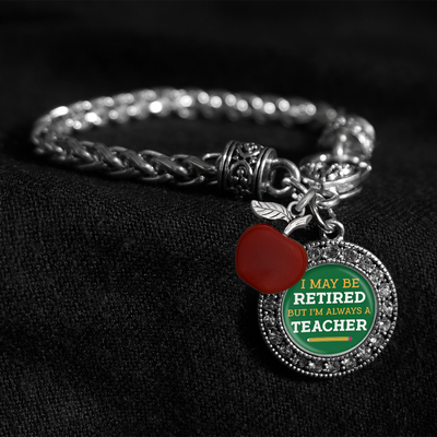 Always A Teacher Silver Braided Clasp Charm Bracelet
